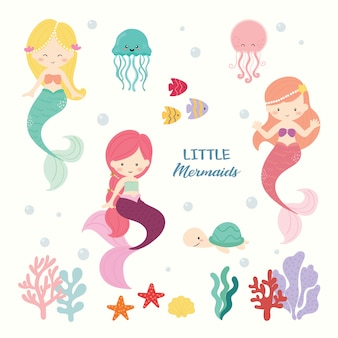 Set of cute mermaid vector.