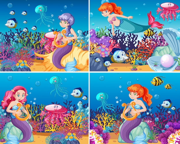 Set di sirena carina con stile cartoon animali mare tema scena
