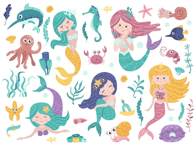 Set of cute mermaids and sea nature.
