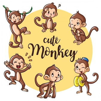 Set cute monkey cartoon., cute animal character concept.