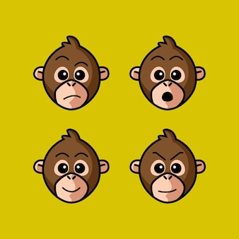 Set cute monkey cartoon head character with different expression vector illustration