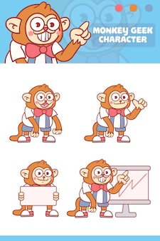 Set of cute monkey character with optional apprearance.