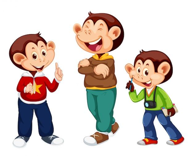 Set of cute monkey character