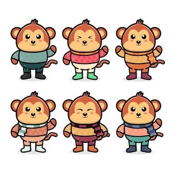 Установить милую обезьяну с осенней концепцией иллюстрации