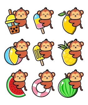Set cute monkey with summer concept