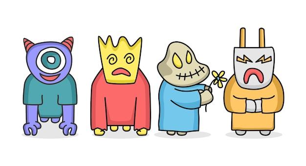 Set of cute monster character cartoon illustration flat design concept vector
