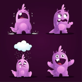Set of cute monster in different poses  illustration