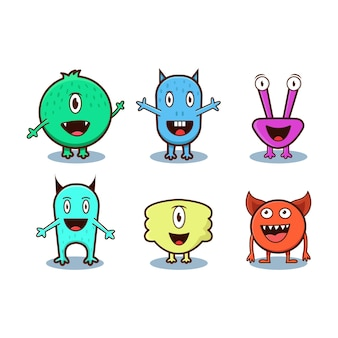 Set of cute monster isolated on white background