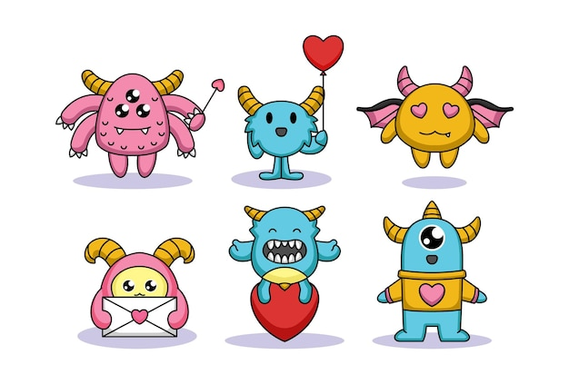 Set of cute monster in valentine's day