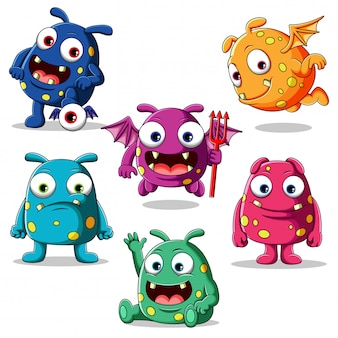 Set of cute monsters character illustration