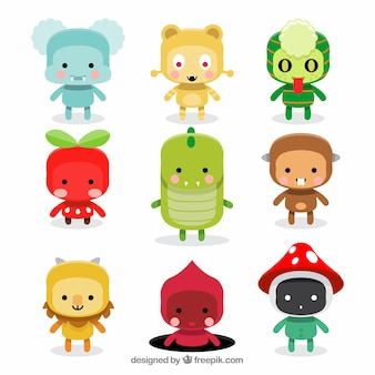Set of cute monsters in flat style
