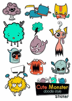 Set of cute monsters in the form of a stickers