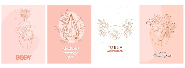 Set of cute motivational and inspirational girl power for pregnancy