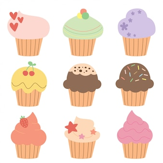 Set of cute muffins and cupcakes