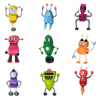Set of cute multicolored robots of different shapes.  illustration on white background.