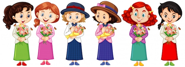 Set of cute multicultural girl characters
