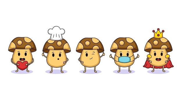 Set of cute mushroom mascot design