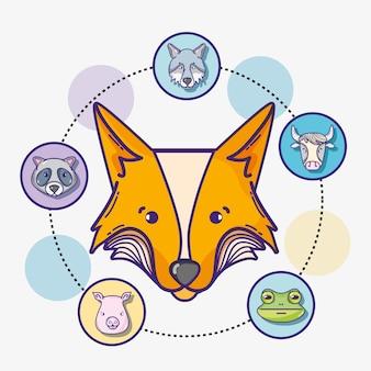 Набор милых природных животных дизайн