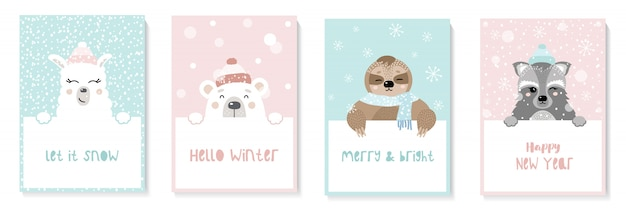 Set of cute new year cards with animals. sloth, llama, raccoon, bear