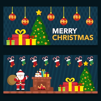 Set  cute night scene christmas banner