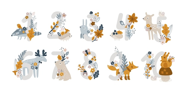 Set of cute number characters with cute animals and elements on white background
