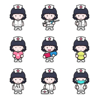 Set of cute nurse character with different attributes cartoon   icon illustration.  flat cartoon style.
