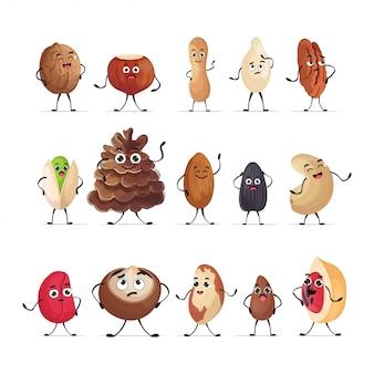 かわいいナッツと種子のキャラクター漫画マスコット人格コレクションを設定します分離された健康的なベジタリアン料理のコンセプト