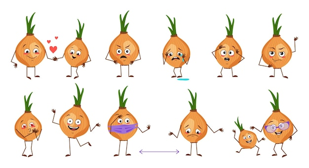 Set of cute onion characters with emotions isolated on white background. the funny or sad heroes, vegetables have play, fall in love, keep their distance. vector flat illustration