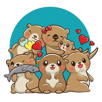 Set cute otter cartoon, animal cartoon concept.