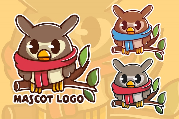 Set of cute owl mascot logo