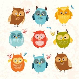 Set cute owls