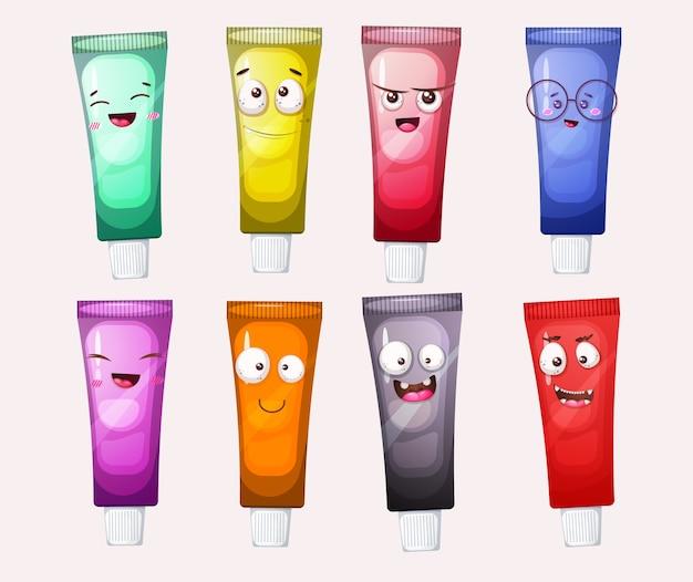 Set of cute paint tubes mascot cartoon character