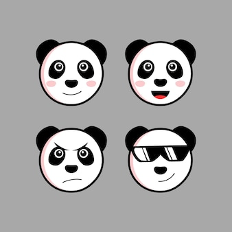 Set cute panda cartoon head character with different expression vector illustration