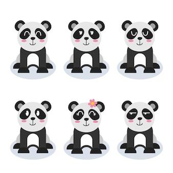 Set of cute panda character cartoon
