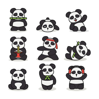 Set of cute panda mascot logo design illustration