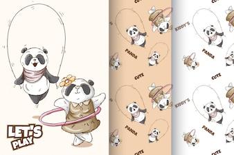 Набор милых панд