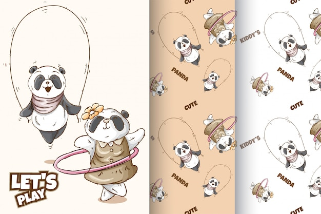 Set cute panda  pattern