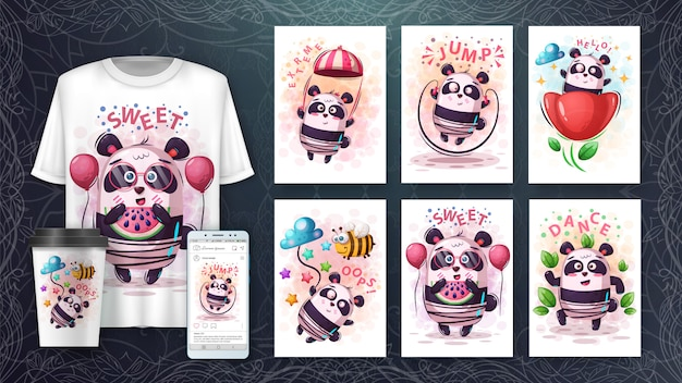Set cute panda poster and merchandising