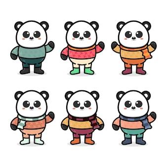 Установить милую панду с осенней концепцией иллюстрации