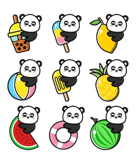 Set cute panda with summer concept