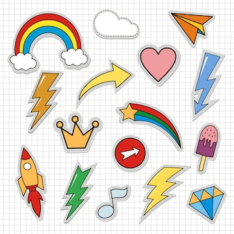 Set of cute patches cartoon stickers