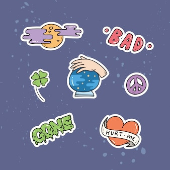 Set of cute patches or sticker