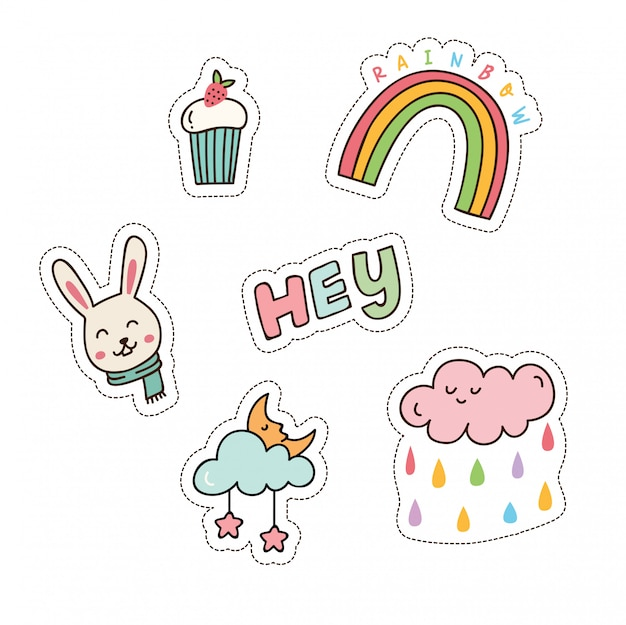 Set of cute patches vector illustration