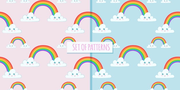 Set of cute patterns with rainbow