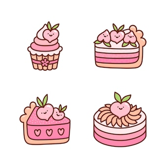 Set of cute peach cakes decorated with flowers fruits hearts