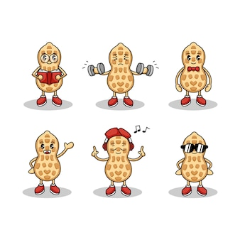 Set of cute peanut mascot logo design