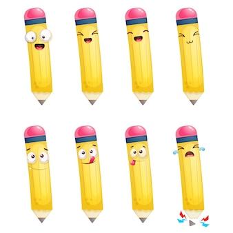 Set of cute pencil mascot cartoon character