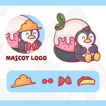 Set of cute penguin ice cream mascot logo with optional appearance, kawaii style