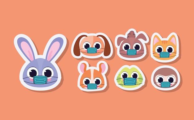 Set of cute pet stickers on a orange background vector illustration design