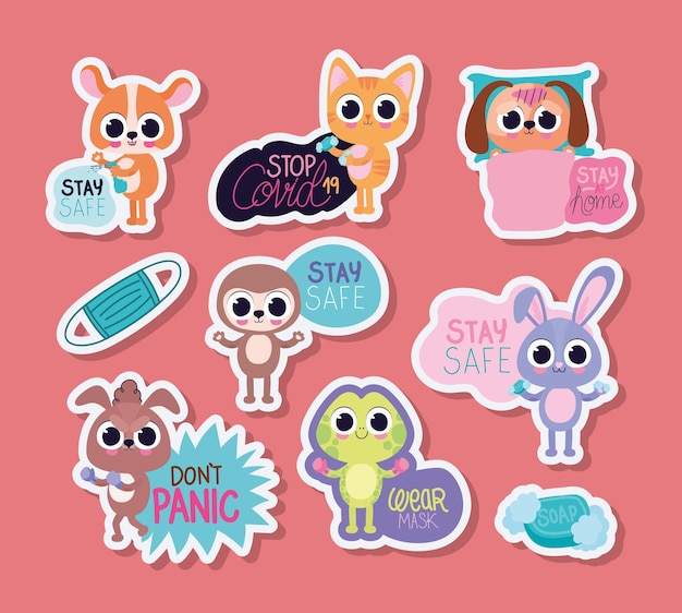 Set of cute pet stickers on a pink background vector illustration design Premium Vector